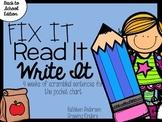 Fix It! Read It! Write It! Back to School Sentence Scrambles