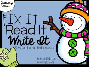 Fix It! Read It! Write It! January Sentence Scrambles