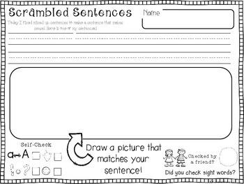 Fix It! Read It! Write It! October Sentence Scrambles