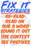 Fix It Reading Strategies Poster! 11x17 + 8.5x11  (Premium Freebie)