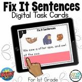 Fix It Sentences: 1st Grade Grammar BOOM Cards™ for Grammar Center Activities
