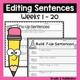 Editing Sentences ~ Vol.1 - Weeks 1-20  - CCSS Aligned ~ Plus A Bonus Game