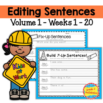 Editing Sentences ~ Vol.1 - Weeks 1-20  - CCSS Aligned ~ Plus A Bonus Game
