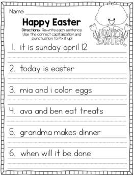 April Fix It Up Sentences (Capitals, End Punctuation and Commas)