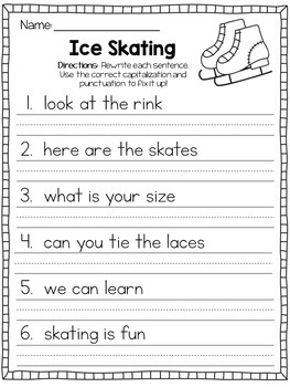 Fix It Up Sentences Book for January (Capitals, End Punctuation and Commas)