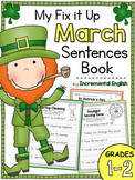 Fix It Up Sentences Book for March (Capitals, End Punctuation and Commas)