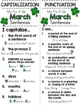 March Fix It Up Sentences (Capitals, End Punctuation and Commas)