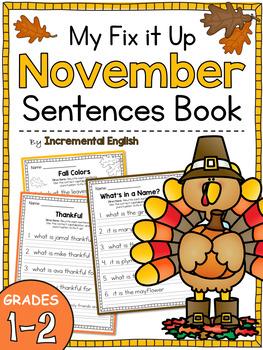 Fix It Up Sentences Book for November (Capitals, End Punctuation and Commas)