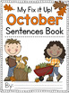 Fix It Up Sentences Book for October (Capitals, End Punctuation and Commas)