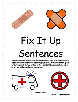 Fix It Up Sentences (Capital Letters and Ending Punctuation)