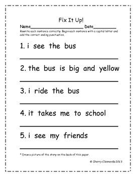 Fix It Up Sentences (Capital Letters and Ending Punctuation): Pack 2