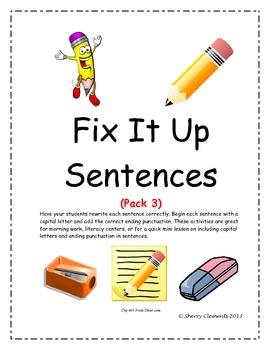 Fix It Up Sentences (Capital Letters and Ending Punctuation): Pack 3
