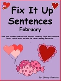 February Fix It Up Sentences - Capital Letters and Ending