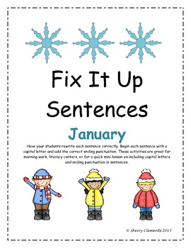 January Fix It Up Sentences (Capital Letters and Ending Pu