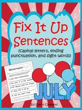 Summer - Fix It Up Sentences (July)
