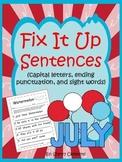 Summer Fix It Up Sentences (July)