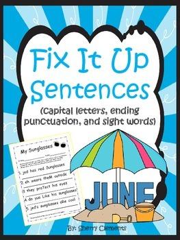 Summer Fix It Up Sentences (June)