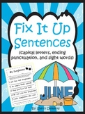 Summer Fix It Up Sentences Distance Learning