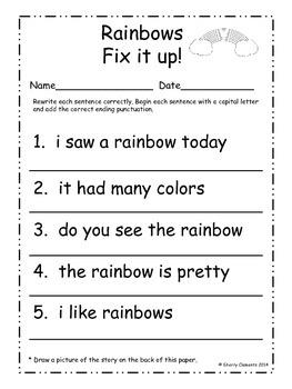March Fix It Up Sentences (Capital letters and ending punctuation)