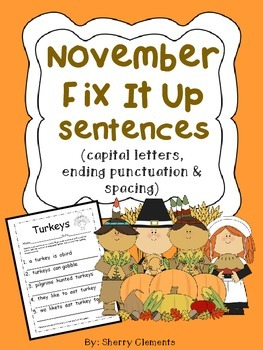 November Fix It Up Sentences