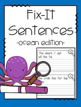 Fix-It! Writing Sentences (Ocean Edition)