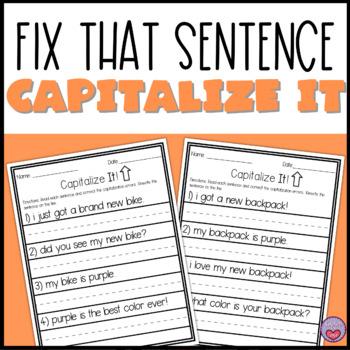 Fix That Sentence - Capitalization Practice
