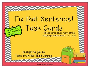 Task Cards - Fix The Sentence