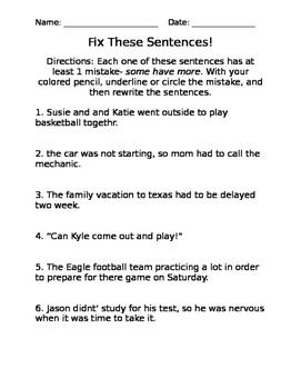 Fix These Sentences!