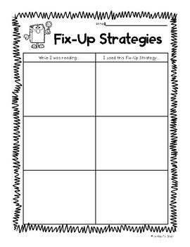 Fix-Up Strategies Comprehension Strategy Worksheet and Poster