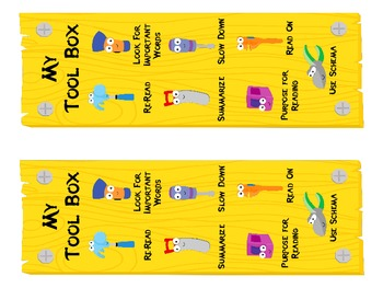 Fix Up Strategies Monitoring While Reading - Toolbox & Tools Posters - Bookmarks