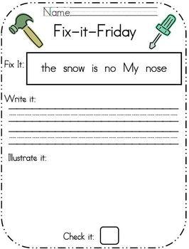 Fix-it-Friday- Editing Worksheet Sample