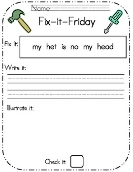 Fix-it-Friday- Editing worksheets pack