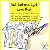 Sight Word Sentence Stucture and Writing Fry Word List