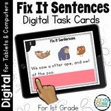 Fix it Sentences for 1st Grade ELA Centers: Grammar Digital Task Card Activities
