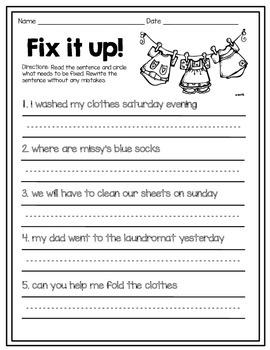 Fix-it Sentences: Practice with Capitalization and Punctuation