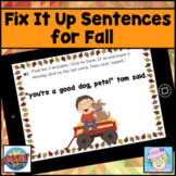 Fix it Up Sentences Digital Boom Cards™ for Fall Distance Learning Grammar