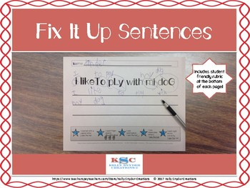 Fix it Up Sentences - Editing Practice for Kinders