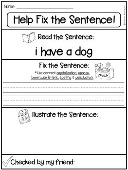 Fix it Up Sentences-Grammar, Writing, Sight Words & More! ~5 Page FREEBIE~