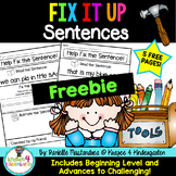 Fix it Up Sentences-Grammar, Writing, Sight Words & More! ~5 Page FREEBIE~