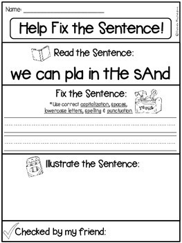 fix it up sentences grammar writing sight words more 5 page freebie. Black Bedroom Furniture Sets. Home Design Ideas
