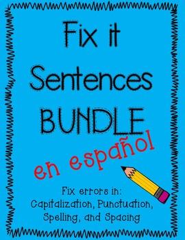 Fix it sentences in Spanish BUNDLE