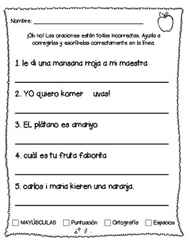 Fix it sentences in Spanish (Revisa oraciones)