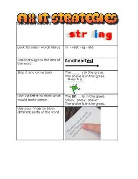 Fix it strategies for reading