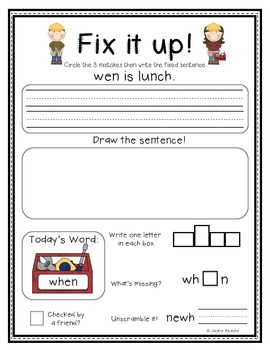 Fix it up! Sentence Convention and Sight Word Practice