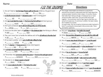 Fix the Scrambled Idioms Interactive PowerPoint and Worksheet - Cheer Team Theme