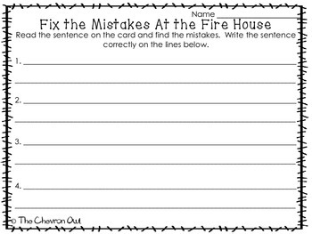 Fix the Mistakes At the Firehouse Grammar Activity