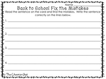 Fix the Mistakes Back to School Grammar Activity