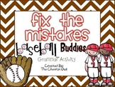 Fix the Mistakes Baseball Buddies Grammar Activity