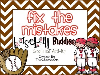 Fix the Mistakes Baseball Buddies Grammar Activity