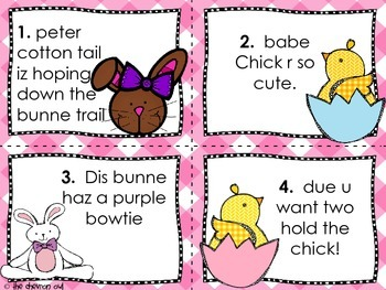 Fix the Mistakes Bunnies and Chicks Edition Grammar Activity